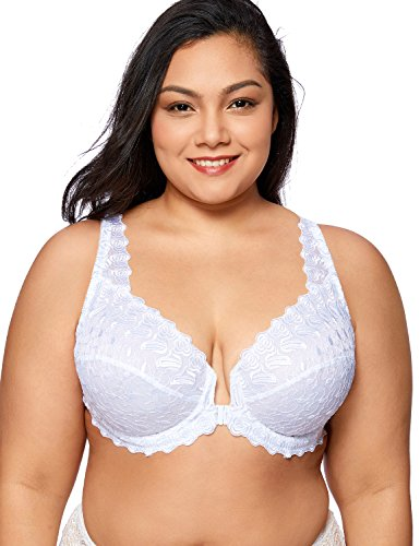 DELIMIRA Women's Plus Size Support Unlined Embroidered Lace Front Close Underwired Bra White 48C