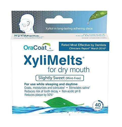 OraCoat, XyliMelts for Dry Mouth Care 160 discs, All Natural, Gluten Free, No Preservatives, Helps Neutralize Acids. ()