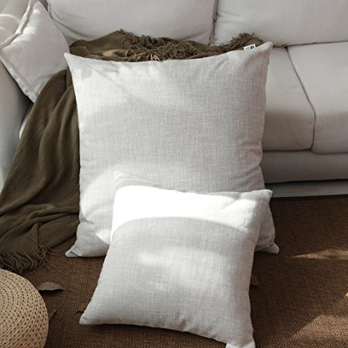 Kevin Textile Summer Decoration Linen Pillow Cover Square Euro Throw Pillow Case Sham Cushion Cover for Floor with Invisible Hidden, 26x26 inches(Set of 1, Light (Euro Sham Set)