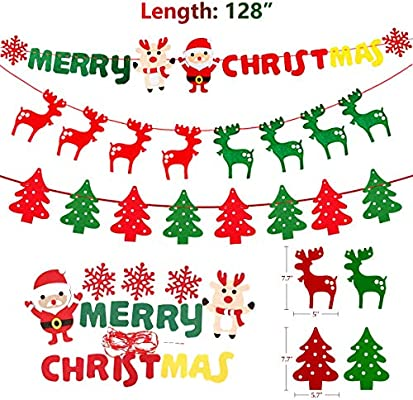 Amazon Com Merry Christmas Banner 3 Pack Xmas Eve Flag Ginfonr Home Party Decorations Bunting Garlands Craft Festival String Ornaments Designed Santa Claus Christmas Tree And Deer For Outdoor Indoor Health