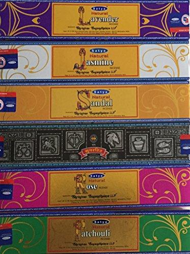 Satya Natural - Set of 6 - Nag Champa Lavender, Jasmine, Sandal, Super hit, Rose Patchouli 15 Grams - Satya Natural Incense