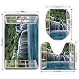 3 Piece Bathroom Mat Set,House Decor,Majestic Waterfall Landscape through A window Imaginary Secret Paradise at Home Decor,Blue Green,Bath Mat,Bathroom Carpet Rug,Non-Slip