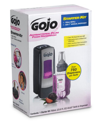 GOJO 8712-D1 2 Piece ADX-7 Antibacterial Foam Refill Dispenser Kit, Plum Fragrance (Fragrance Dispenser Kit)