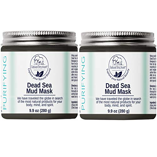 Natural Elephant Dead Sea Mud Mask 20 oz (Pack of 2 9.9oz Jars)