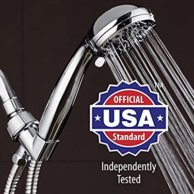 AquaDance High Pressure 6-Setting 3.5″ Chrome Face Handheld Shower with Hose for the Ultimate Shower Experience! Officially Independently Tested to Meet Strict US Quality & Performance Standards