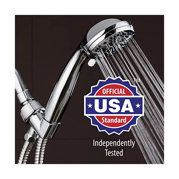 "AquaDance High Pressure 6-Setting 3.5"" Chrome Face Handheld Shower with Hose for the Ultimate Shower Experience! Officially Independently Tested to Meet Strict US Quality & Performance Standards! 7"