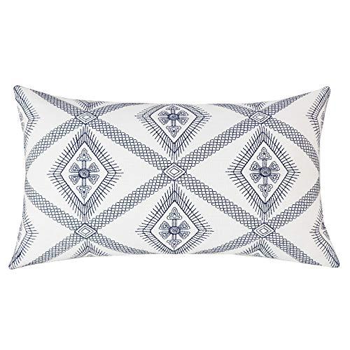 SLOW COW Cotton Linen Embroidery Rectangular Throw Pillow Cover Decorative Lumbar Pillowcase 12 x 20 Inches Navy -