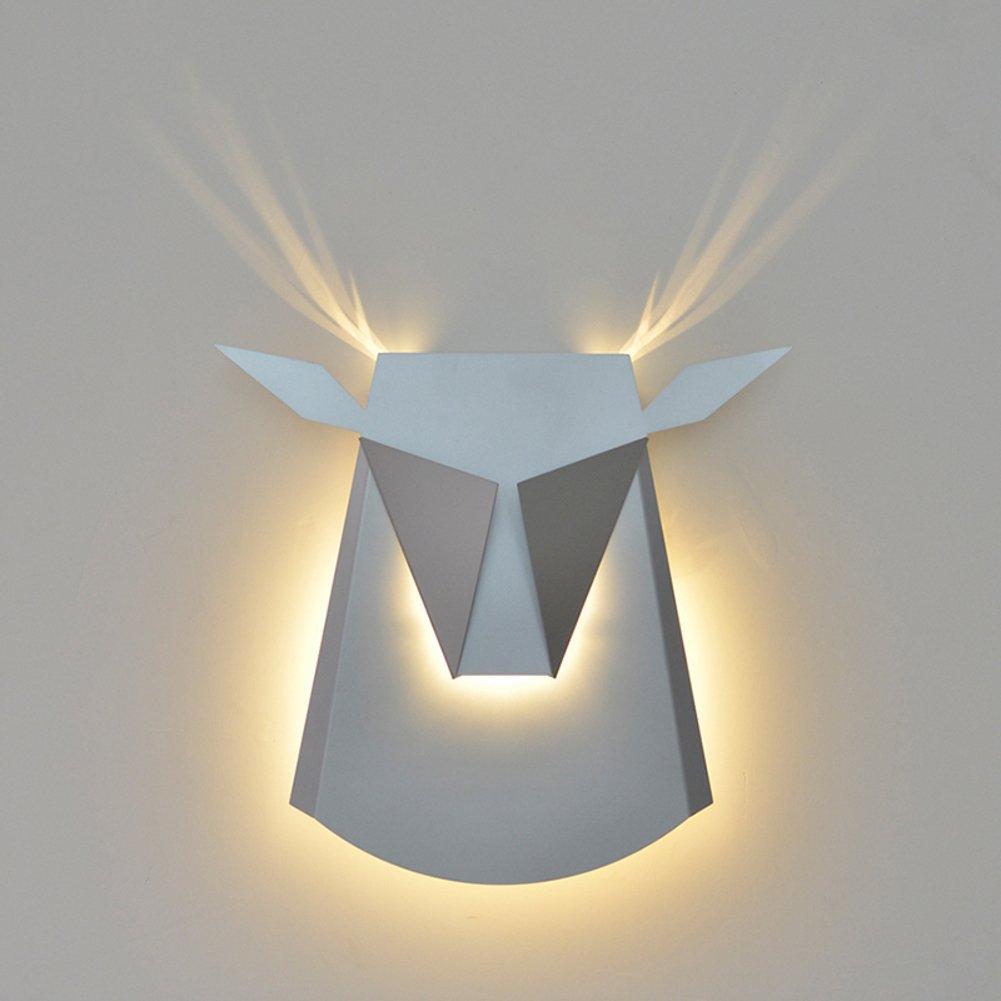 Moderne wandleuchte Einfache Wandleuchten,Hirsch kopf wand Wandlampen Wandleuchte geweih Wohnzimmer [nordeuropa] American style Gang Persönlichkeit Schlafzimmer Bett] Kreative-Silber