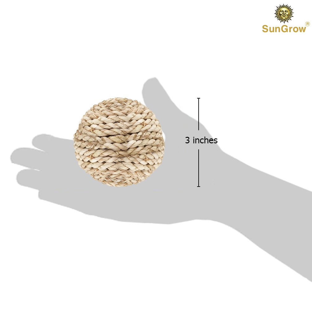 SunGrow Rabbit Rope Ball : Natural Grass Ball: Environmentally Friendly Toy: Entertaining & Fun for Your Pet: Suitable for Guinea Pigs & Chinchillas & Other Small Pets