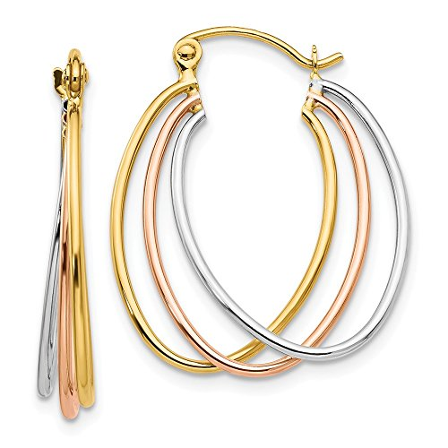 14k Tri-Color Gold Polished Triple Oval Hoop Earrings, 25mm (1 Inch) ()