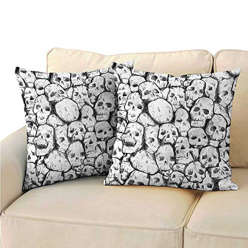 RuppertTextile Skull Couple Pillowcase Grungy Skulls Halloween Protect The Waist W14 x L14 -