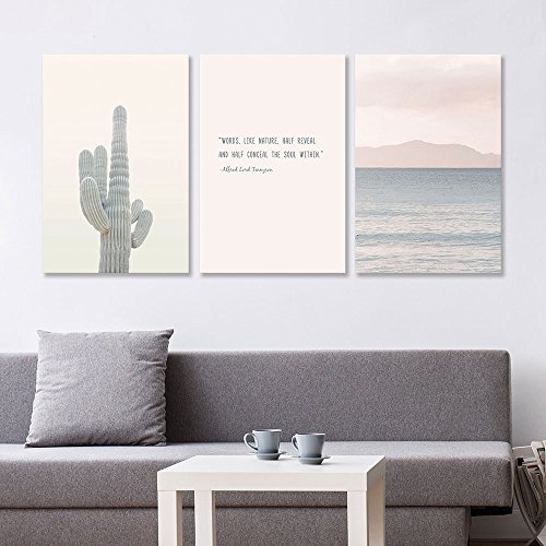 3 Panel Cactus and Coastal Mountains with Inspirational Quotes x 3 Panels