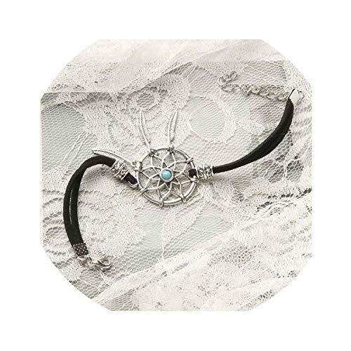 keihte 6 Colors Vintage Enchanted Forest Bracelet Handmade Dream Catcher Net with Metal Feather,Black ()