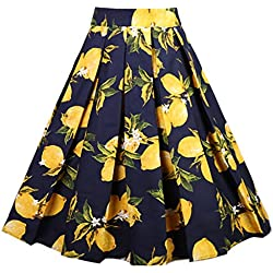 Dressever Women's Vintage A-Line Printed Pleated Flared Midi Skirts Lemon (Navy) XX-Large