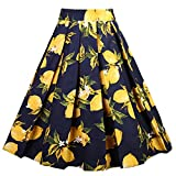 Dressever Women's Vintage A-Line Printed Pleated Flared Midi Skirts Lemon (Navy) Medium