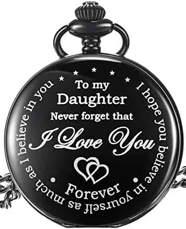 Pangda Inspirational Gift to My Daughter Never Forget That I Love You Steel Pocket Watch, Personalized Daughter Gift from Mom Dad (Black Dial)