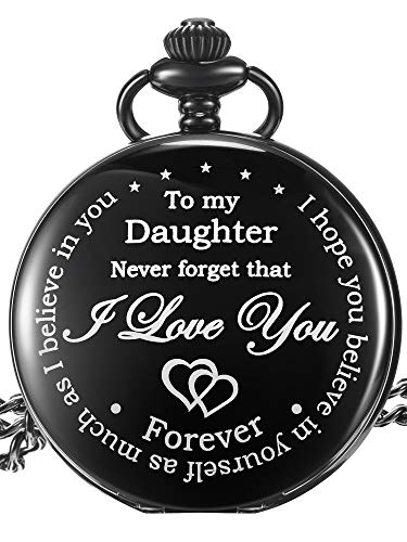 Pangda Inspirational Gift to My Daughter Never Forget That I Love You Steel Pocket Watch, Personalized Daughter Gift from Mom Dad (Daughter Gifts, Black Dial)