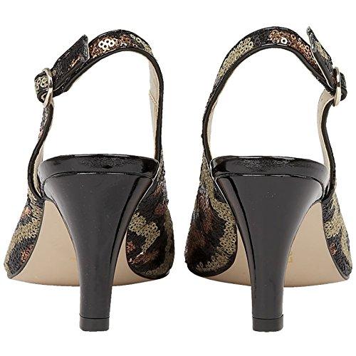 Lotus 50731 UK Toe Shoes Print Sling Ladies EU Back Peep Sequined Leopard 37 4 PALLADIA rZrqwvP