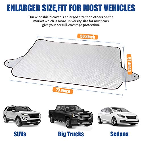 GLANDU [2020 Upgraded] Windshield Snow Cover Car Window Cover Ice and Snow Cover for Car with 4 Strong Magnets Edge & 4 Layer Material Protection, Large Size Suitable for Most Cars and SUV