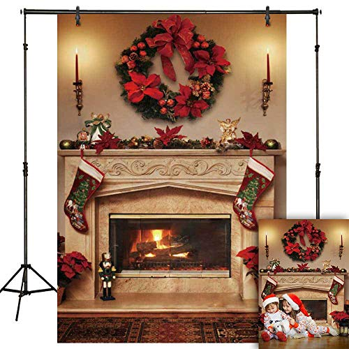 Funnytree 5x7ft Winter Christmas Fireplace Photography Backdrop Interior Vintage Xmas Stockings Background Portrait Photobooth Banner Party Decorations Photo Studio Props