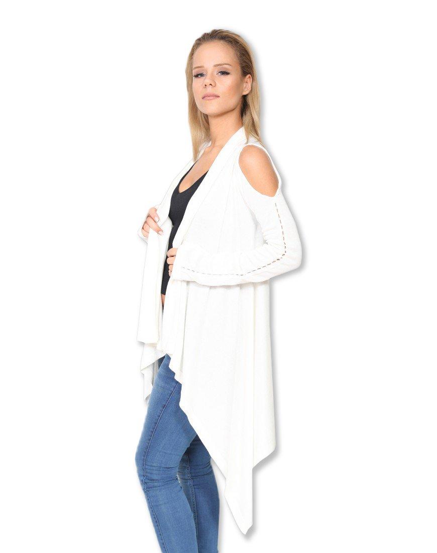 Ht New York Women'sAsymmetricCold Shoulder Modern Cardigan Sweater Top (8, White)