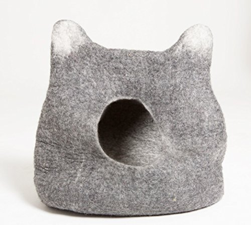 Natural Felted Wood Cat Cave Bed - Cat Head Design (Regular)