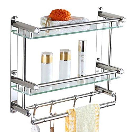- Hicy Stainless Steel Bathroom Shelf Rack, 2 Tier Glass Shelves Towel Bars with Hooks