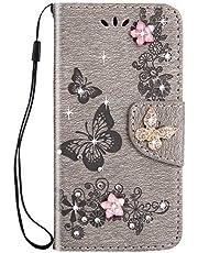 Herbests Estuche compatible con Samsung Galaxy S9 Flip Cartera Magnética Funda de Cuero PU Folio Book-Style Estuche Brillo Bling Flores Mariposas con Diamantes de Imitación, Gris