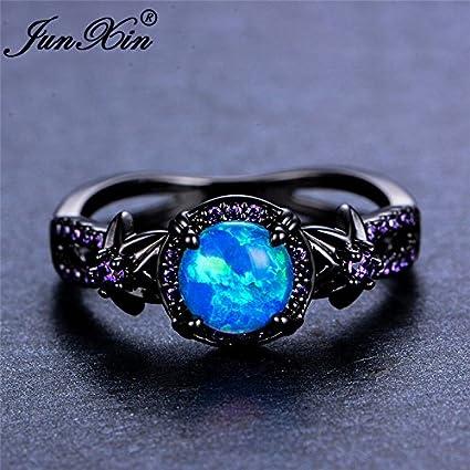 Vintage Wave Blue Fire Opal Cross Wedding Ring Black Gold Wedding Jewelry 8