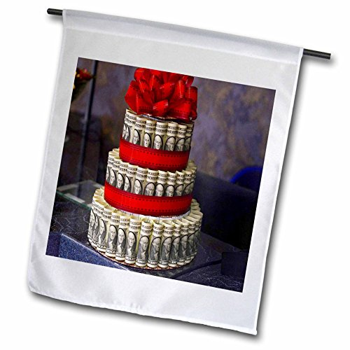 Ivory Custom 2 Ribbon - 3dRose Spring And Summer Abstracts - Image of Cute Tiered Cake Made From Paper Money - 18 x 27 inch Garden Flag (fl_281532_2)