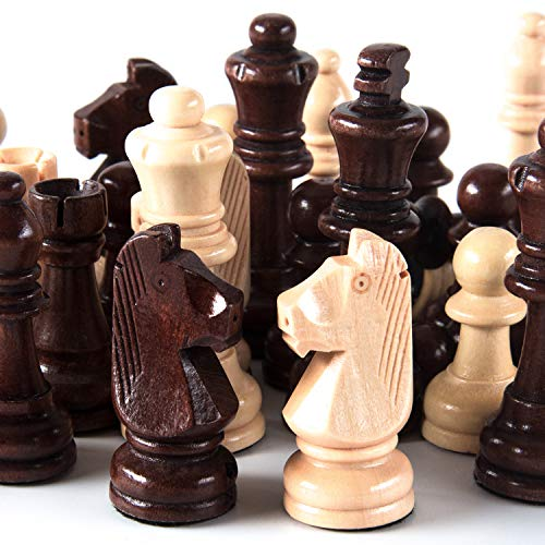 AMEROUS Handmade Wooden Chess Pieces, Extra Heavy Weighted Tournament Staunton Chessmen with 3.15