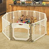 North States Superyard Ultimate Play Yd: Safe Play Area for Indoors or Outdoors - Folds Up with Carrying Strap for Easy Travel. Freestanding. 34.4 Sq.'. Enclosure (26' Tall, Ivory, 8-Panel)