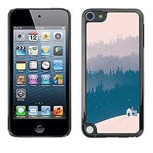 TopCaseStore / la caja del caucho duro de la cubierta de protección de la piel - Blue Winter Forest View Beige - Apple iPod Touch 5