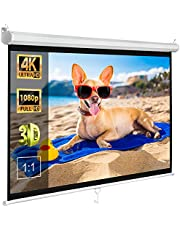 """ZENY 120"""" Projector Screen 1:1 Projection Screen Pull Down Home Theater Screen Movies Portable Foldaway Indoor Outdoor Screen"""