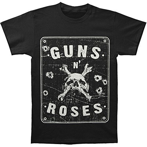 Guns N Roses Skull T-shirt (Guns N' Roses Street Sign with Skull & Bullet Holes Adult T-shirt - Black (X-Large))