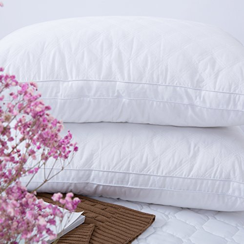 Bed Pillow - (Queen Size 2 Pack ) Down Alternative Quilted Pillows for Sleeping, Super Soft Plush Fiber Fill, Adjustable Loft, Relief for Neck Pain, Dust Mite Resistant & Hypoallergenic ()