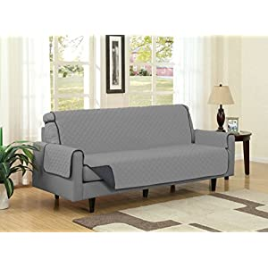 Linen Store Quilted Reversible Microfiber Pet Dog Couch Furniture Protector Cover (Sofa, Gray/Charcoal)