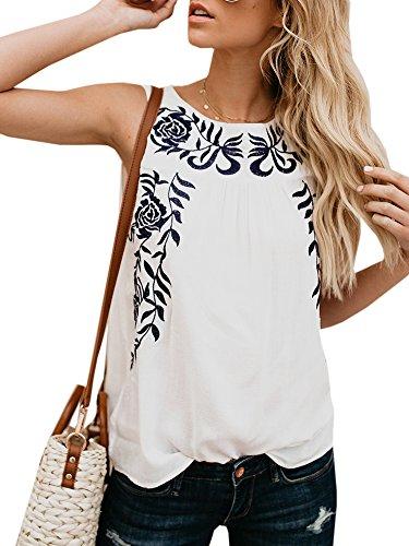 Dellytop Womens Summer White Tank Top Sexy Sleeveless Floral Print T-Shirt Tanks - Shirt Print Sleeveless Floral