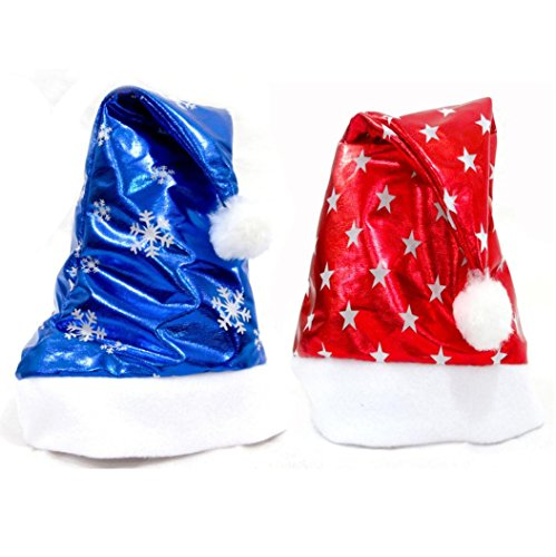 WILLTOO Adult+Kid Christmas Santa Hat Red And Blue Cap 2PC (Cotton Midweight Cap)