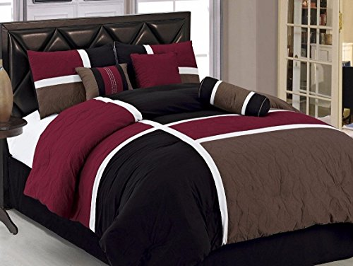 Chezmoi Collection 7-Piece Quilted Patchwork Comforter Set, Queen, Burgundy, Brown and - Brown With Burgundy
