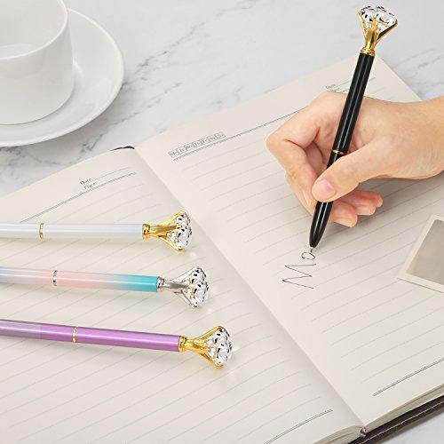 Bememo 12 Pieces Big Diamond Pen Rhinestones Crystal Metal Ballpoint Pens Black Ink (12 Different Colors) Photo #5