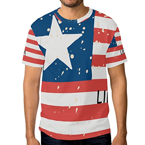 super3Dprinted Distressed Liberia Flag Men's Short Sleeve T-Shirt Top Tee ()