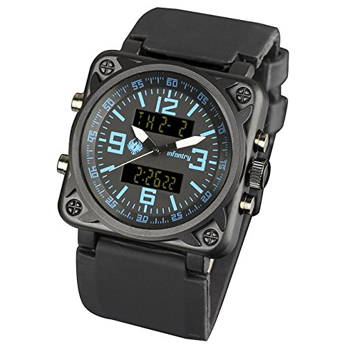 - INFANTRY Mens Big Face Dual Display Military Watches Tactical Sport Wrist Watch for Men Analog Digital Black Silicone Band