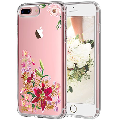 iPhone 7 Plus Case,LUHOURI Flower Case for women, Transparent Plastic with Clear TPU Bumper Protective Back Phone Case Cover for iPhone 7 Plus (5.5 Plus Inch) - C 02