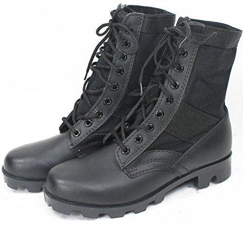 Black Panama Sole Military Leather Jungle Boots, Size