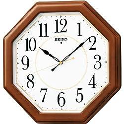 SEIKO CLOCK ( Seiko clock ) wooden frame Standard radio analog hanging clock ( octagonal - tea ) KX389B