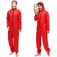 Unisex Dali Mask Red Costume for Dali Money Heist The Paper House La Casa De Papel Costume Hoodie Jumpsuit with Mask