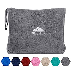 BlueHills Premium Soft Travel Blanket Pillow Airplane Flight Blanket throw in Soft Bag Pillow case with Hand Luggage…