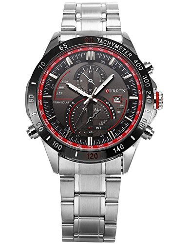 Carrie Hughes Mens Watches Stainless steel Military Sports 30M Waterproof Auto Calendar Watches (CH251) Auto Calendar Watch