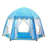 T- Children Tents Interior Game Indian Castle Toy Tent Hexagonal Tent Indoor Game Reading Big House, (Only One Tent) ( Color : Blue )